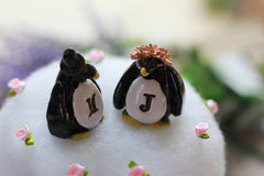 Personalized Wedding cake topper Penguin cake topper Animal cake topper Wedding cake topper Bride and groom - Ceramics By Orly  - 4