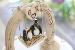 Custom wedding cake topper Bride and groom Penguin cake topper Animal wedding cake topper Funny cake topper - Ceramics By Orly  - 5