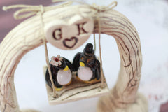 Custom wedding cake topper Bride and groom Penguin cake topper Animal wedding cake topper Funny cake topper - Ceramics By Orly  - 4