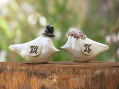Love bird cake topper Initials cake topper Wedding cake topper Blue wedding - Ceramics By Orly  - 3