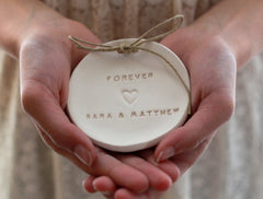 Forever Wedding ring dish with your names - Ceramics By Orly  - 1