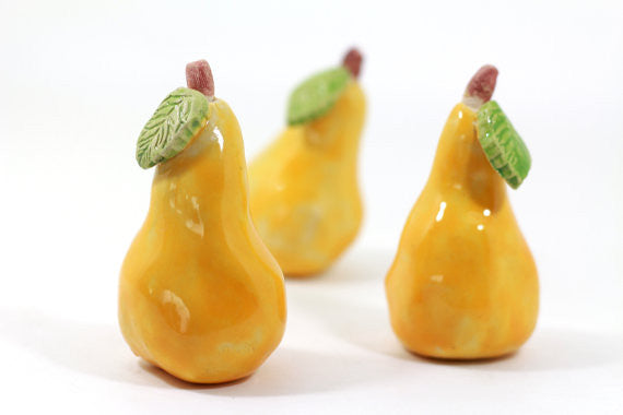 Yellow Ceramic pears, Home decor, Cottage chic, Decorative ceramic pear, Ceramic fruit, Hostess gift, Spring decor, Table centerpiece - Ceramics By Orly  - 1