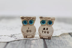Owls cake topper, I DO ME TOO cute cake topper, birds cake topper Owl wedding Wedding cake topper - Ceramics By Orly  - 5