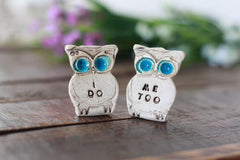 Owls cake topper, I DO ME TOO cute cake topper, birds cake topper Owl wedding Wedding cake topper - Ceramics By Orly  - 1