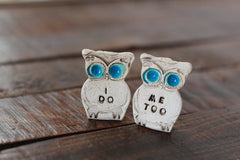 Owls cake topper, I DO ME TOO cute cake topper, birds cake topper Owl wedding Wedding cake topper - Ceramics By Orly  - 4