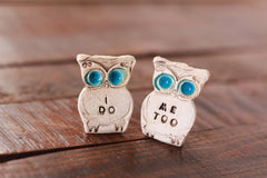 Owls cake topper, I DO ME TOO cute cake topper, birds cake topper Owl wedding Wedding cake topper - Ceramics By Orly  - 3