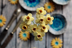 Flower design, Flowers handmade Flower decor Party decoration, Yellow Daffodil, Flower decoration Hostess Gift Housewarming gift - Ceramics By Orly  - 3