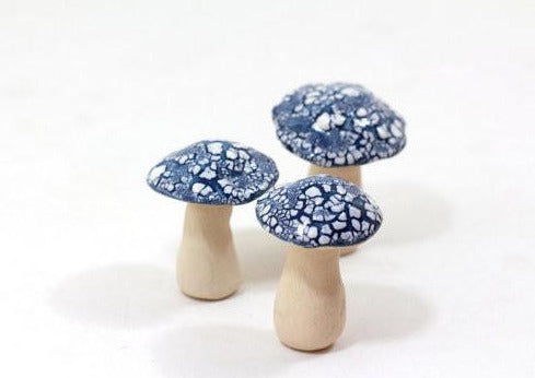 Miniature mushrooms in blue and white
