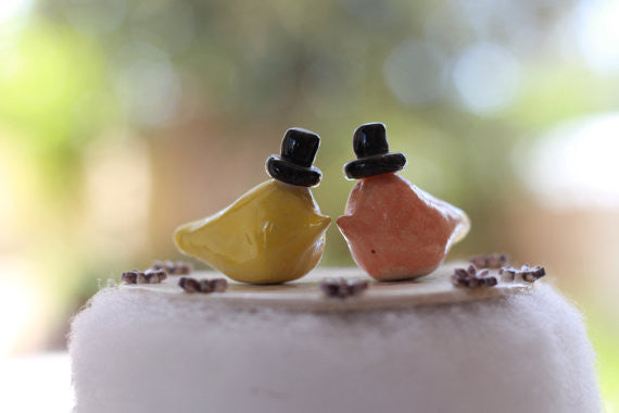 Same sex Love birds cake topper, Wedding cake topper - Ceramics By Orly  - 1