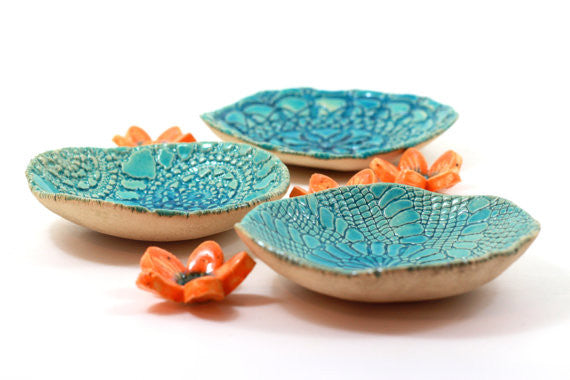 House warming gift Serving Housewares decoration Ceramic bowls set (3 bowls) - Ceramics By Orly  - 1