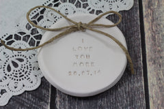 I love you more Wedding ring dish - Ceramics By Orly  - 3