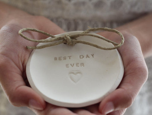 Best day ever Wedding ring dish - Ceramics By Orly  - 1