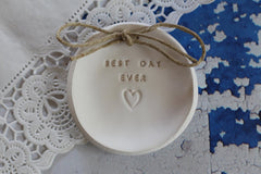 Best day ever Wedding ring dish - Ceramics By Orly  - 5