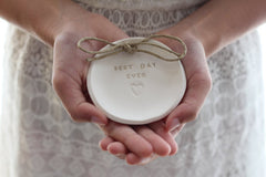 Best day ever Wedding ring dish - Ceramics By Orly  - 4