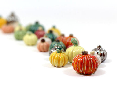 Miniature ceramic pumpkins
