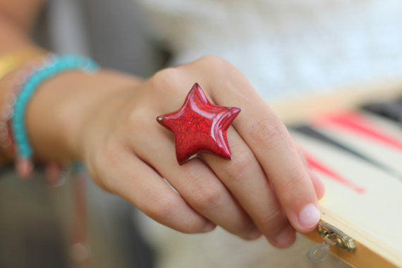 Star ring Ceramic jewelry Ceramic ring Red ring Boho chic