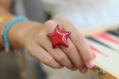 Star ring Ceramic jewelry Ceramic ring Red ring Boho chic - Ceramics By Orly  - 1