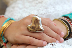 Golden heart ring Ceramic jewelry Ceramic ring Valentine's day gift Heart ring - Ceramics By Orly  - 5