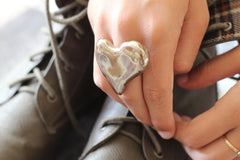 Golden heart ring Ceramic jewelry Ceramic ring Valentine's day gift Heart ring - Ceramics By Orly  - 3