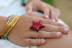 Star ring Ceramic jewelry Ceramic ring Red ring Boho chic - Ceramics By Orly  - 4