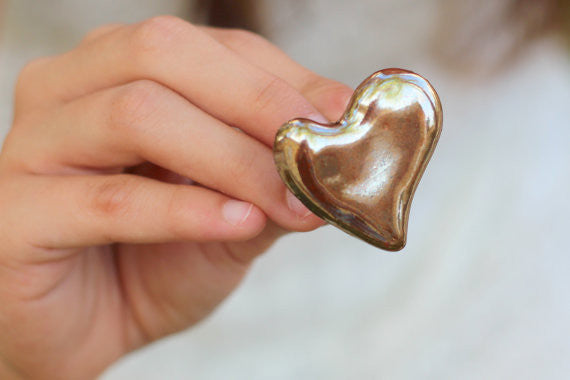 Golden heart ring Ceramic jewelry Ceramic ring Valentine