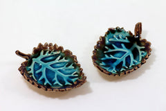 Brown and Aqua Ceramic Leaves - Ceramics By Orly  - 2