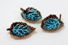 Brown and Aqua Ceramic Leaves - Ceramics By Orly  - 5