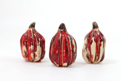 Autumn decor Halloween decoration Ceramic red and white pumpkin set Thanksgiving decor - Ceramics By Orly  - 5