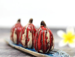 Red and white ceramic pumpkins - Ceramics By Orly  - 1