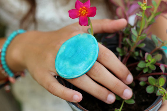 Turquoise statement ring - Ceramics By Orly  - 1