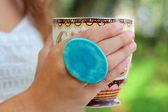 Turquoise statement ring - Ceramics By Orly  - 5
