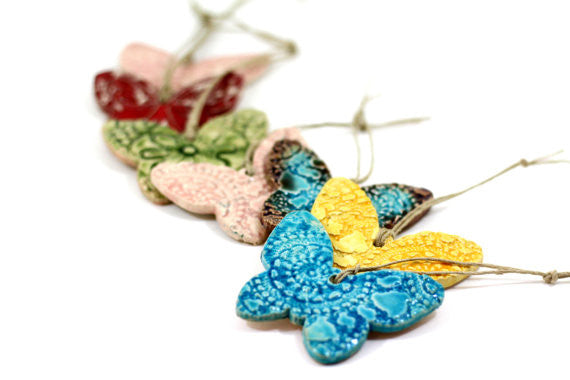 Butterfly ornament Room decor Holidays decor Wall hanging - Ceramics By Orly  - 1