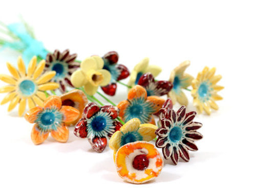 Ceramic Flowers for home decor (set of 5 )