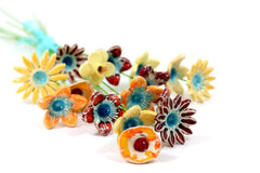 Colorful Flowers for home decor (set of 5 ) - Ceramics By Orly  - 5
