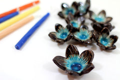 Ceramic flowers Hanukkah Menorah in brown and turquoise - Ceramics By Orly  - 5