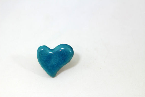 Aqua heart ring Ceramic jewelry Ceramic ring Turquoise ring Valentine's day gift Heart ring