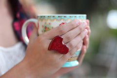 Heart ring Ceramic jewelry Ceramic ring Red ring Valentine's day gift Red heart ring - Ceramics By Orly  - 5