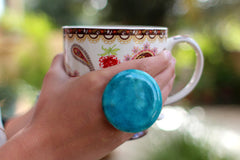 Turquoise ring - adjustable cocktail ring Boho chic jewelry - Ceramics By Orly  - 3