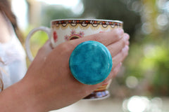 Turquoise ring - adjustable cocktail ring Boho chic jewelry - Ceramics By Orly  - 1