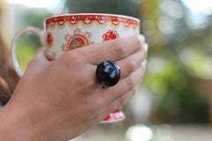 Ceramic jewelry Black ring Ceramic ring Statement ring - Ceramics By Orly  - 2