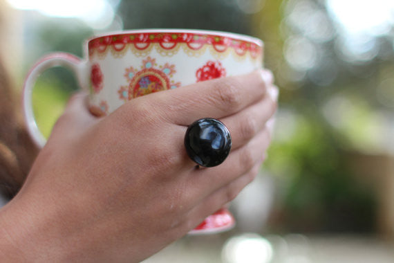 Ceramic jewelry Black ring Ceramic ring Statement ring - Ceramics By Orly  - 1