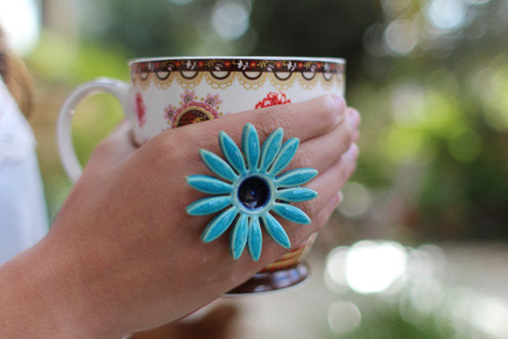 Flower ring Turquoise ring Cocktail ring Big ring Ceramic jewelry - Ceramics By Orly  - 1