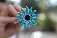 Flower ring Turquoise ring Cocktail ring Big ring Ceramic jewelry - Ceramics By Orly  - 3