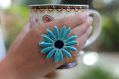 Flower ring Turquoise ring Cocktail ring Big ring Ceramic jewelry - Ceramics By Orly  - 2
