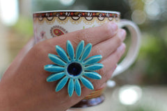 Flower ring Turquoise ring Cocktail ring Big ring Ceramic jewelry - Ceramics By Orly  - 4