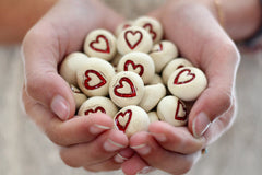 Valentine's Day Heart favor Wedding favors Round heart pebbles Bridesmaids gift Shower gift - Ceramics By Orly  - 1