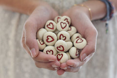 Valentine's Day Heart favor Wedding favors Round heart pebbles Bridesmaids gift Shower gift - Ceramics By Orly  - 2