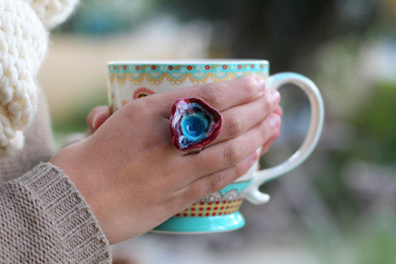 Marsala and aqua ring Boho chic jewelry