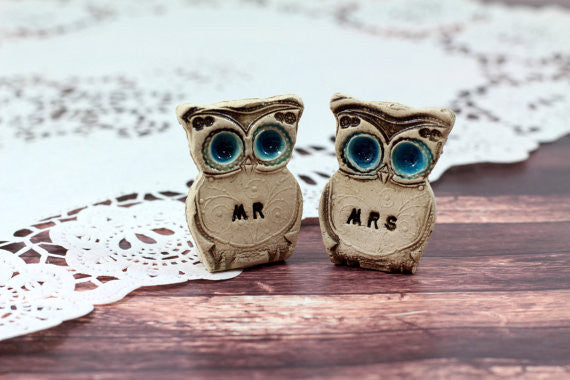Owls Wedding cake topper -Mr & Mrs owls Cute cake topper Wedding gift - Ceramics By Orly  - 1