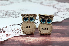 Owls Wedding cake topper -Mr & Mrs owls Cute cake topper Wedding gift - Ceramics By Orly  - 5